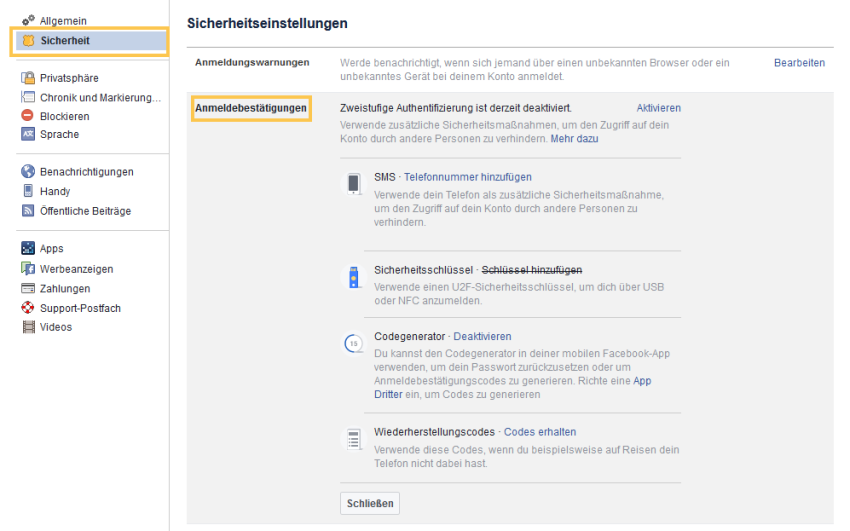 Zwei-Faktor-Authentifizierung in Facebook  aktiveren